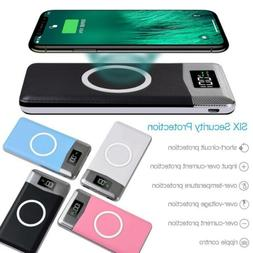 10000mAh Power Bank Qi Wireless Charging 2 USB LCD LED Porta