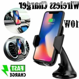 10W QI Wireless Fast Charger Car Mount Holder For iPhone X X