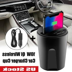 10W QI Wireless Car Charger Cup Holder 1 USB Port +1  Wirele
