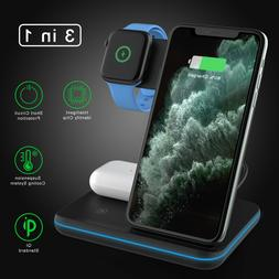 15W 3 in 1 Qi Wireless Charger Fast Charging Dock Stand For
