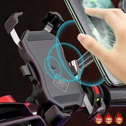 15W Motorcycle Cell Phone Mount Holder Qi Wireless USB Charg