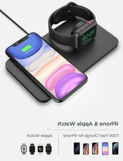 Seneo 2-in-1 QI Wireless Charger Fast Charging Pad For iWatc