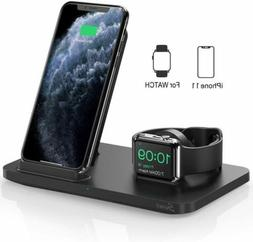 Seneo 2 in 1 Qi Wireless Fast Charger Dock Pads For Apple Wa