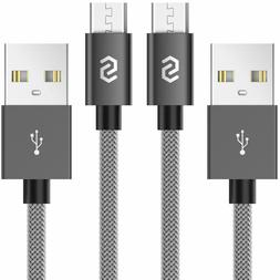 2-PACK Micro USB Cable Nylon Braided Fast Charger for Samsun