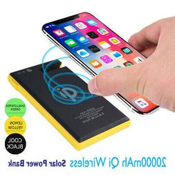 2 USB Wireless Solar Power Banks 20000mAh Battery Chargers f
