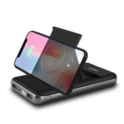 US Qi Wireless Charger 20000mah Power Bank 2USB LCD Battery