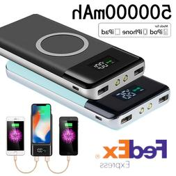 2019 New Qi Wireless Charger Power Bank 500000mAh LED LCD Ex
