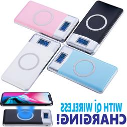 500000mAh Power Bank Qi Wireless Charging 2 USB LCD LED Port