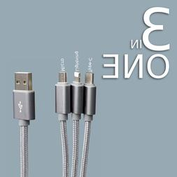 3 in 1 Multi USB Charger Cable Cord Micro USB Type C For for