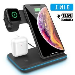 3 in 1 Qi Wireless Fast Charger Stand For Apple Watch iPhone
