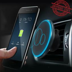 360° Car Mount Qi Wireless Fast Charger Magnetic Holder For