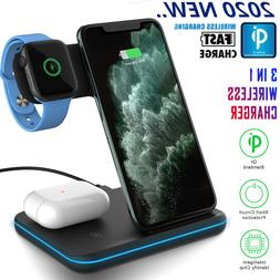 3in1 Qi Wireless Charger Fast Charging Dock Stand For iPhone