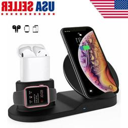 3in1 Qi Wireless Charger Pad Charging Station For Apple Watc