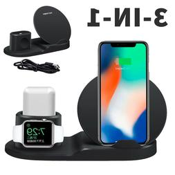 3in1 Qi Wireless Fast Charger Dock Stand For Apple Watch Air