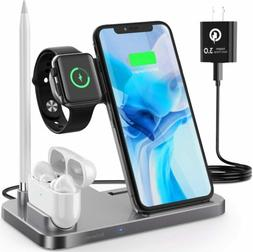 4 in1 Fast Charger Qi Wireless Charging Station for Apple Wa