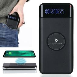Qi 500000mAh Power Bank Wireless Charger 2 USB LED For Cell