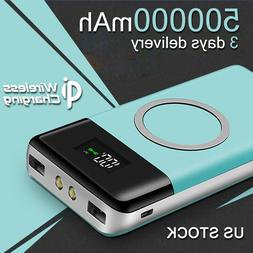500000mAh Wireless Power Bank USB Fast Charger Smart Mobile