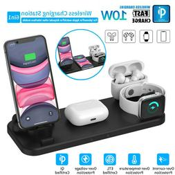 6 in 1 Wireless Charger Qi Fast Charging Station for iPhone