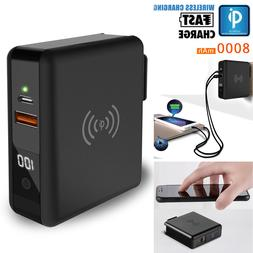 8000mAh Qi Wireless Travel Battery Fast Charger Type-C For L