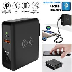 8000mAh Travel Qi Wireless Fast Charger Power Bank USB Type-