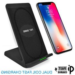 Dual Qi Wireless Charger Dock Mobile Phone Charging Pad Stan