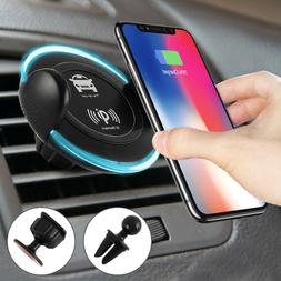 Qi Wireless Car Charger Air Vent Mount Holder Fast For Samsu
