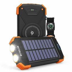 BLAVOR Solar Charger Power Bank 18W, QC 3.0 Portable Wireles