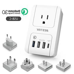 Travel Adapter Kits by BESTEK - Dual 2.4A Smart Identify USB