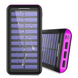 Portable Charger 24000mAh Solar Power Bank, 2 Input & 3 Outp