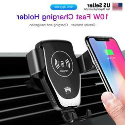 Car Mount Qi Wireless Charger Air Vent Phone Holder Fast Cha