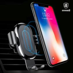 Baseus Car Mount Qi Wireless Charger Quick Charge Fast Charg