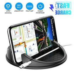 Car Wireless Qi Fast Charger Cup Holder Cradle Stand for iph