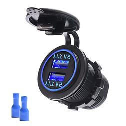 MICTUNING Dual USB Charger 4.2A with Blue Light Compatible f