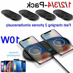 Dual Wireless Charger FAST Charging Mat Pad For Samsung Note