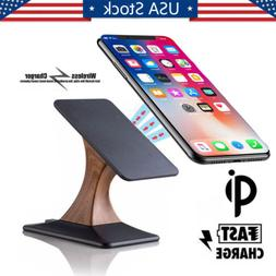 Fast Qi Wireless Charger Charging Pad Stand For iPhone X 8 P