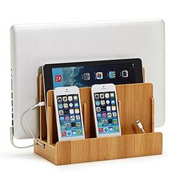 Eco Bamboo Multi-Device Charging Station Dock & Organizer -