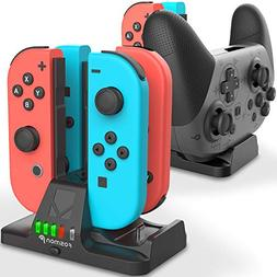 Fosmon Joy Con and Pro Controller Charging Dock, 2-in-1 Dual