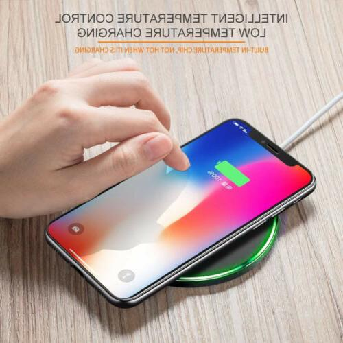 10W Metal Qi Wireless Charger Fast Charging Mat For XS Samsung S10 S9