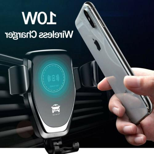 10w qi wireless fast charger car mount
