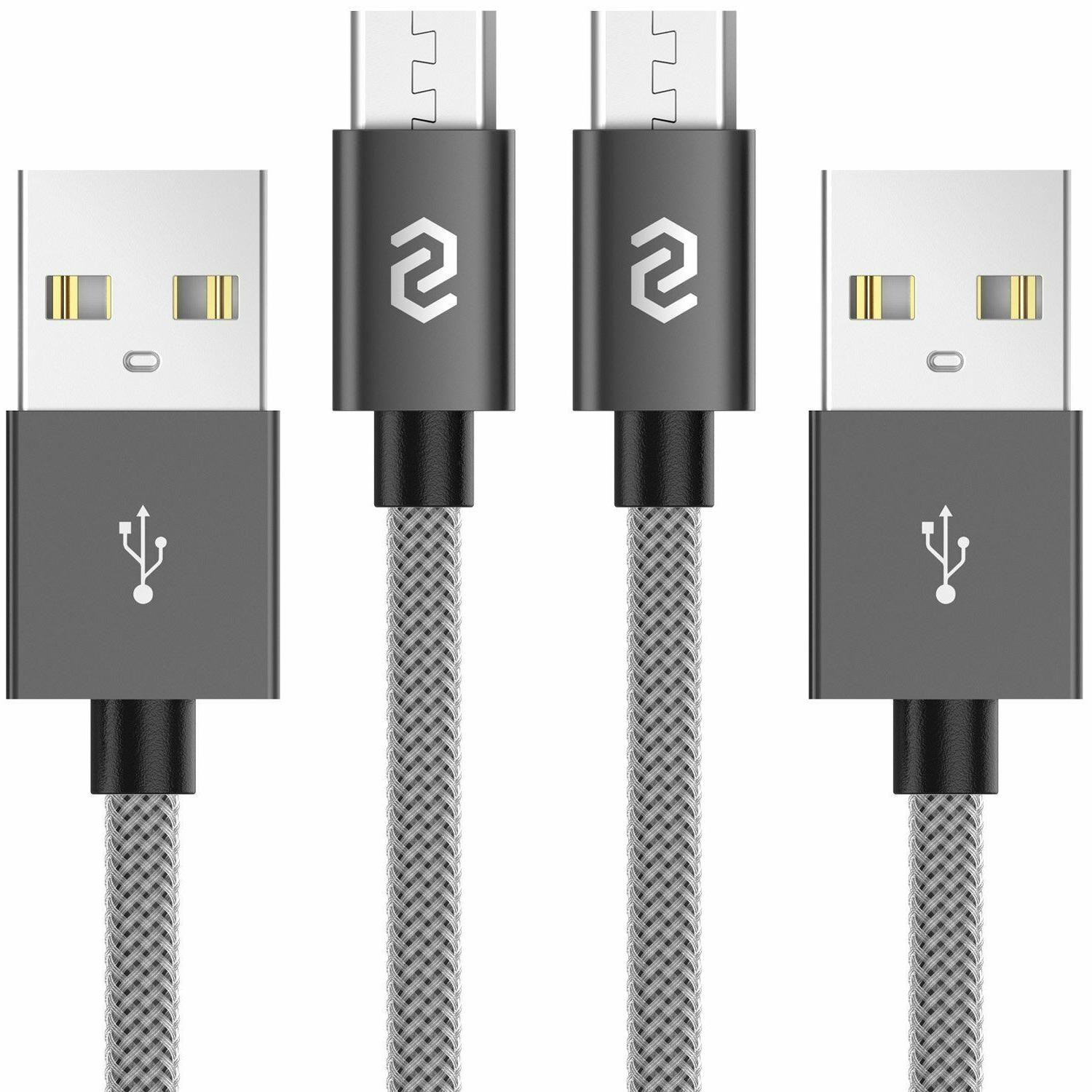 2 pack micro usb cable nylon braided