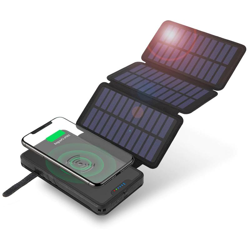 20000mAh Foldable Solar Power Bank Qi Wireless Charger For i