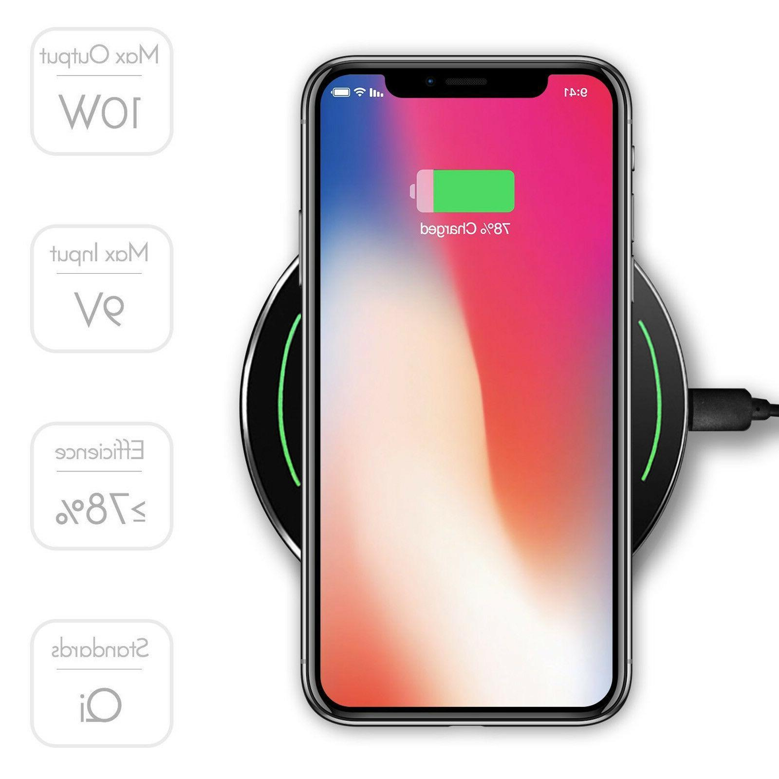 Wireless Charger, Portable Ultra Slim 9W Fast Qi-Certified C