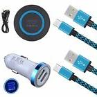 Blue Kit 6 - Car Charger QI Wireless Pad Cables USB for LG G