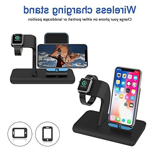 Apple Watch Stand Docks & iPhone X Wireless Charger iPhone Plus,iwatch Charger Stand for Watch 3,2,1 & Nike