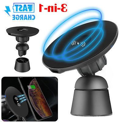 Car Fast Charging Wireless Charger Air Vent Mount Holder For