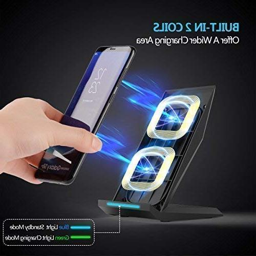 Fast Qi Certified Charger Wireless Charging Note 9, S9 S9+ S8+ S7 Edge All Device