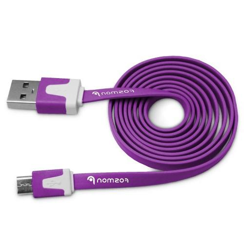 Micro USB Flat Cable 3FT, Fosmon Vivid Sync Charge Data Cabl