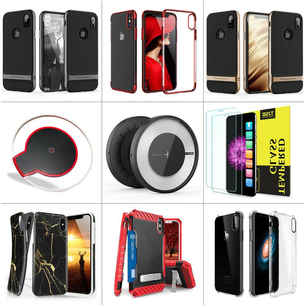 Qi Wireless Charger+Phone Case+2pcs Tempered Glass for iPhon