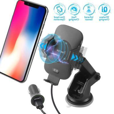 Wireless Charging Auto Open Phone Holder Mount Stand Cradle+