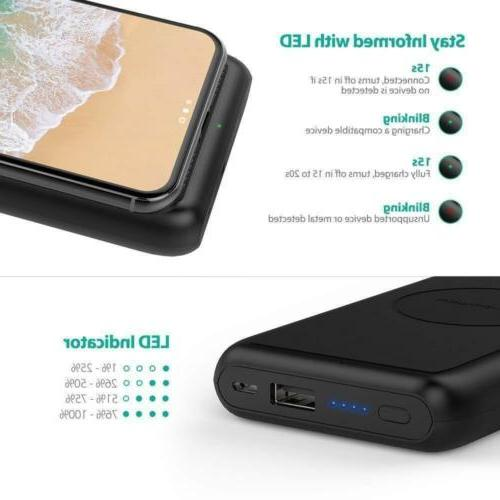Wireless Portable 10000mAh External Charger Battery for iPhone Xs, Plus, Wireless Power Bank for S9, Note and Qi-Enabled